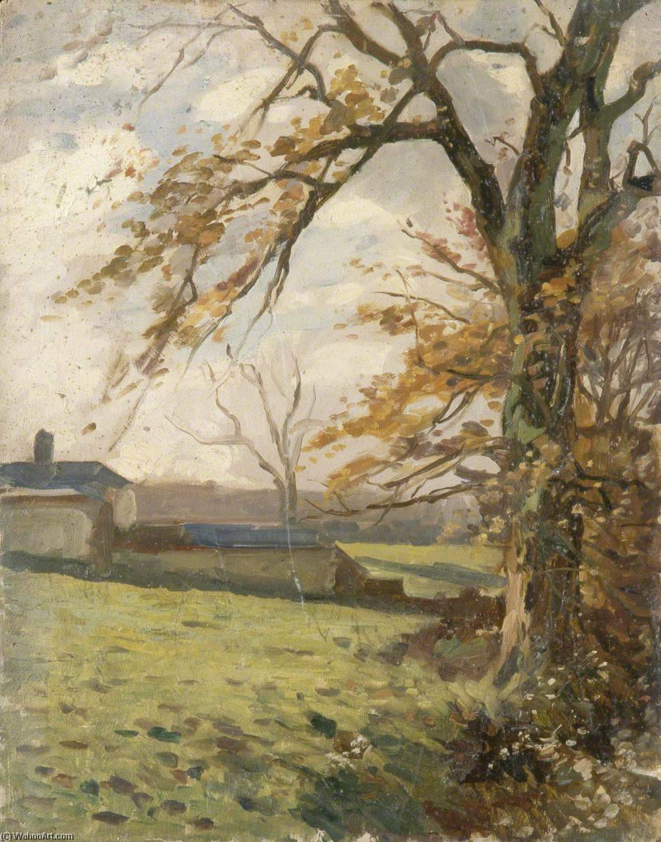 Autumnal Trees and Farm Buildings, 1930 by Gunning King | Oil Painting | WahooArt.com