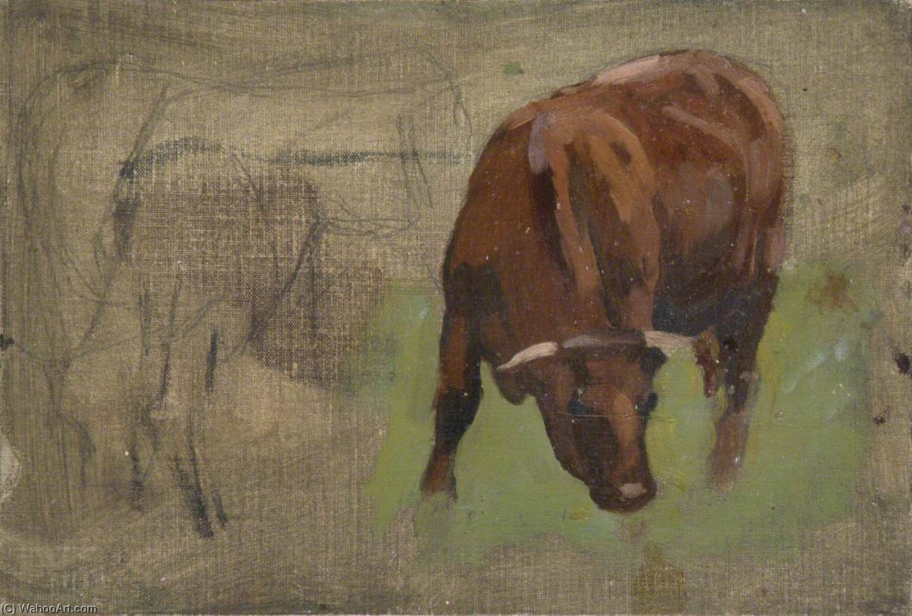 Cow Grazing, Oil by Gunning King
