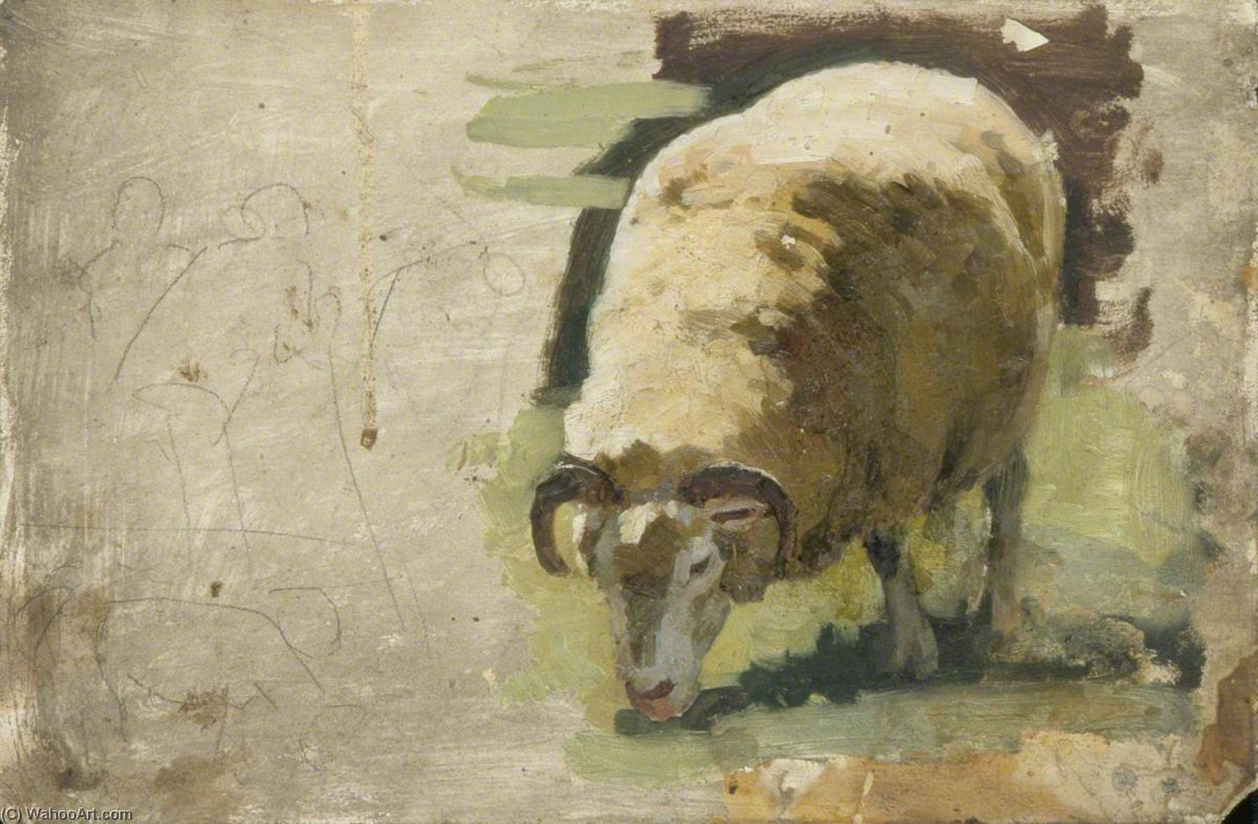 A Sheep Grazing by Gunning King | Museum Quality Reproductions | WahooArt.com
