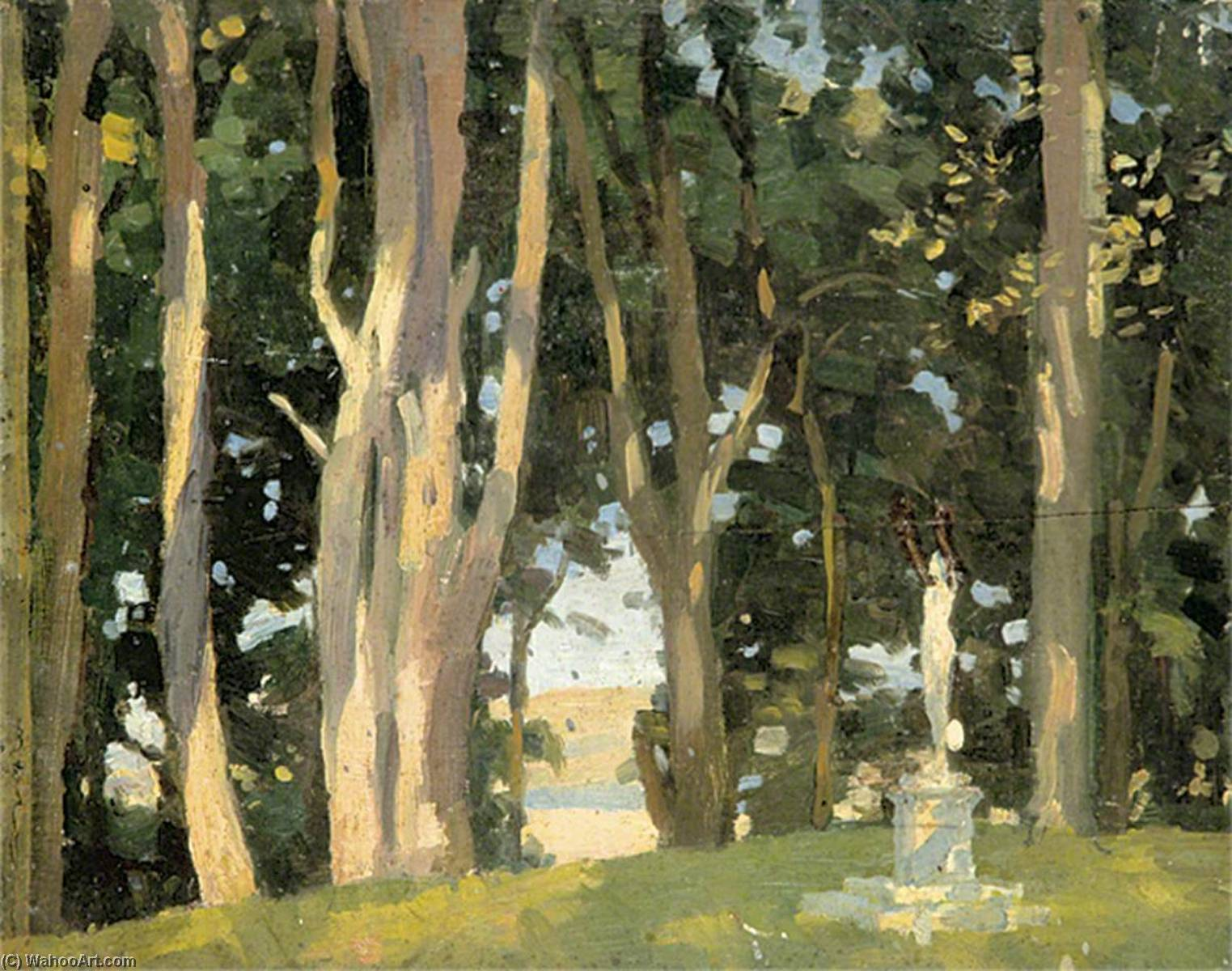 Wooded Scene with a Statue, Oil by Gunning King