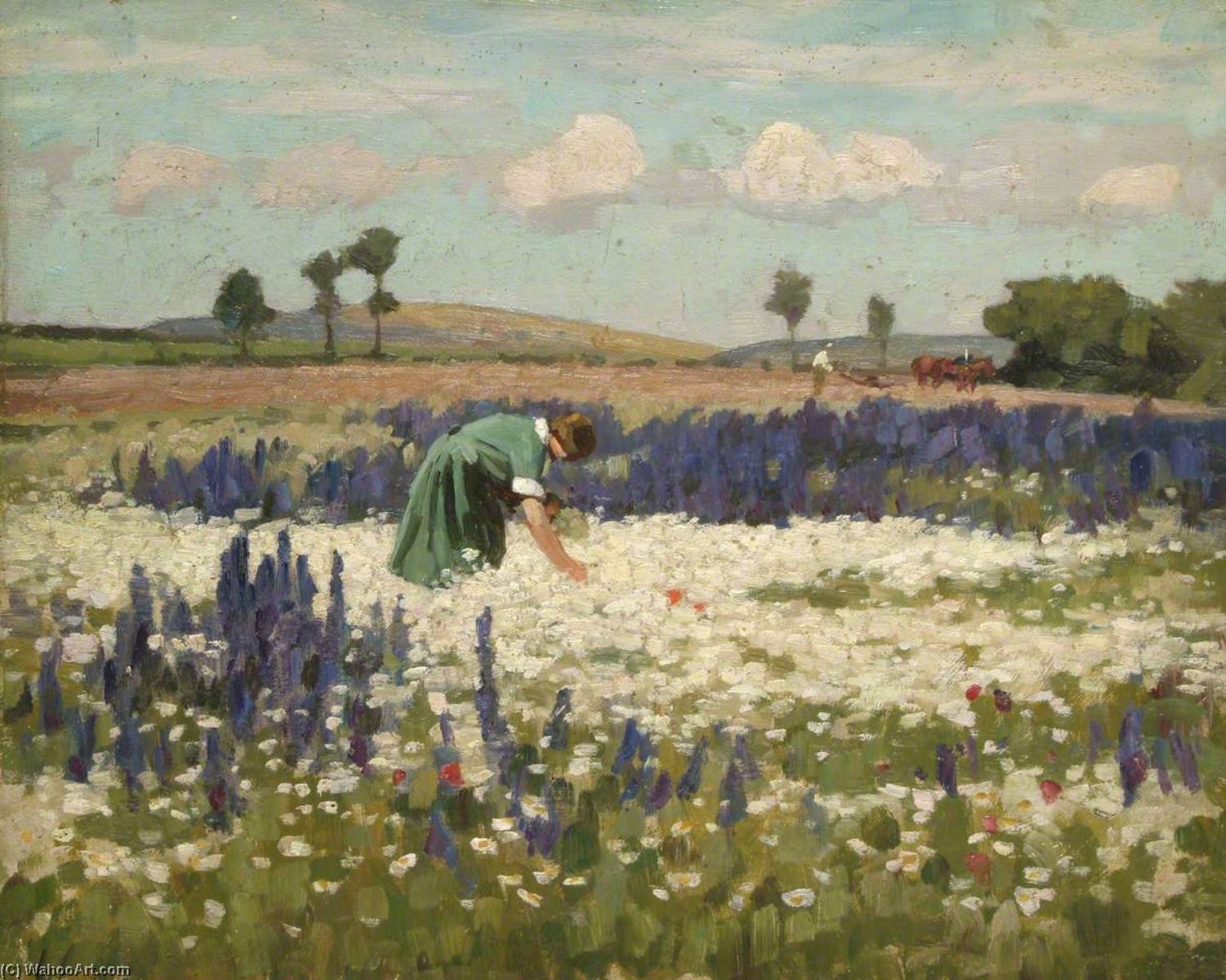 Woman Picking Flowers, Oil On Panel by Gunning King