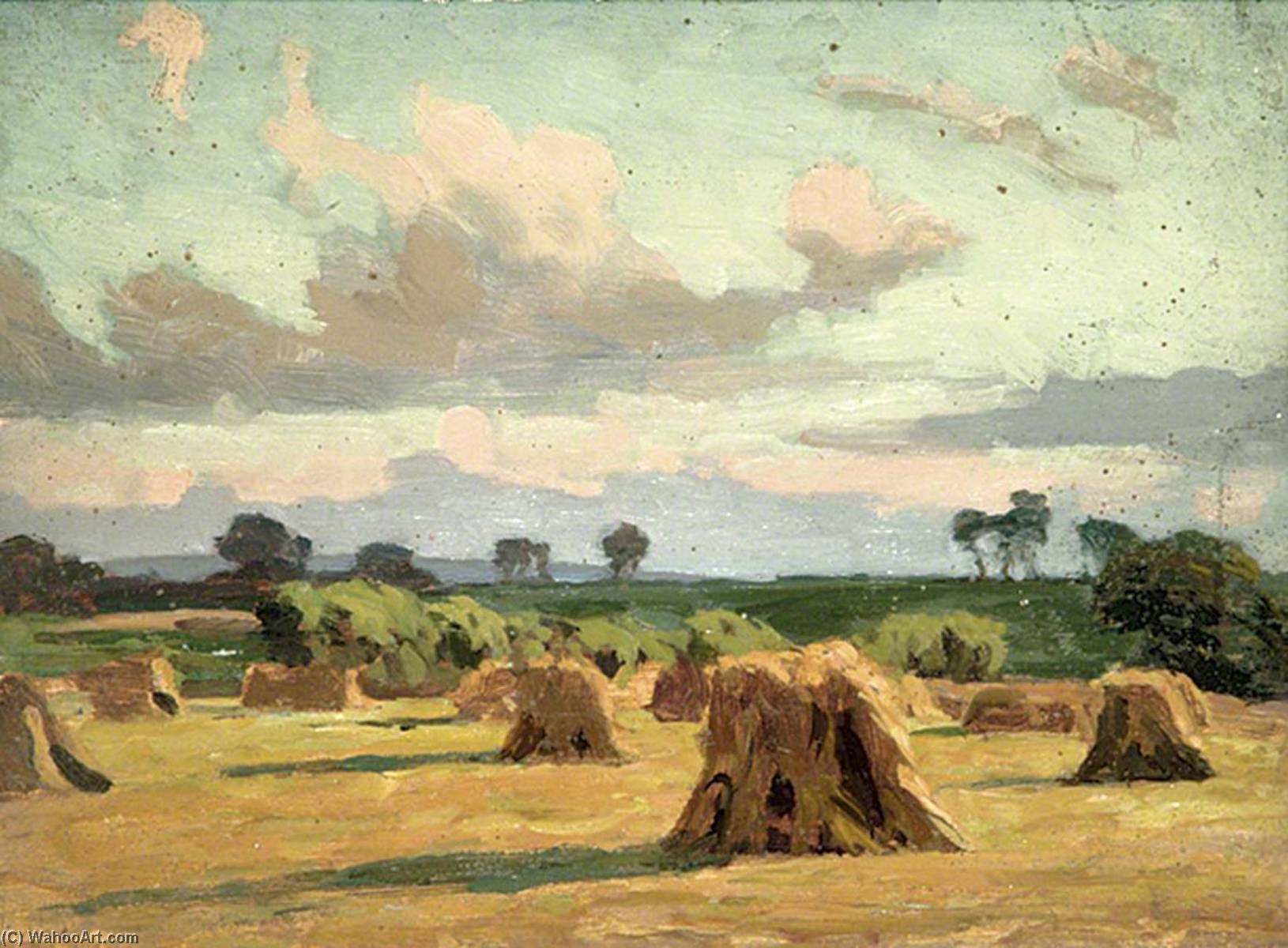 Country Scene with a Field of Haystacks, Oil by Gunning King
