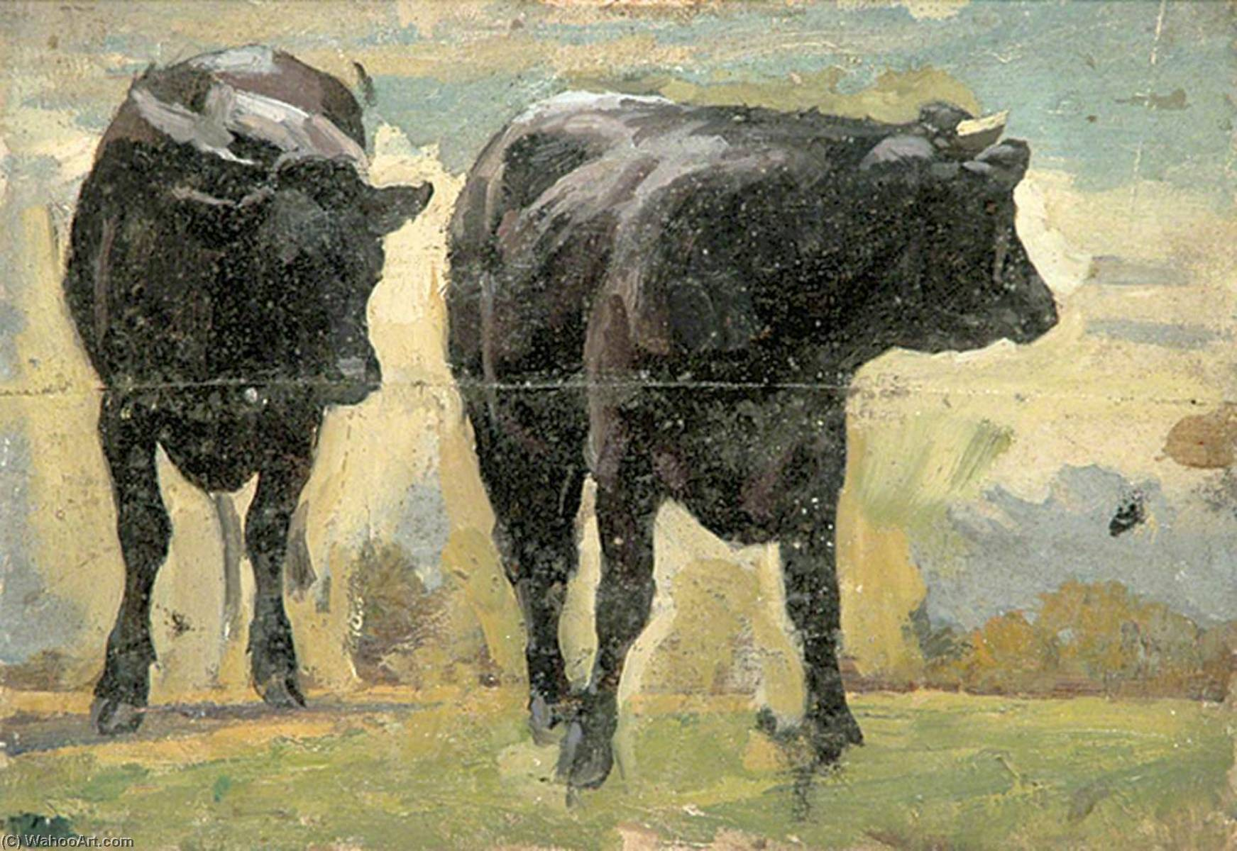 Two Black Cows, Oil by Gunning King