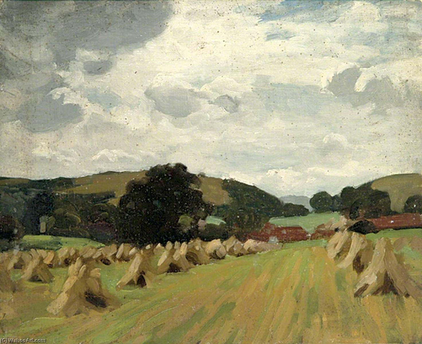 Lines of Haystacks with Hills in the Background, Oil On Canvas by Gunning King