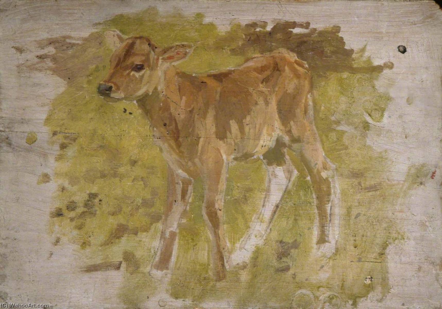 Calf, Oil On Panel by Gunning King