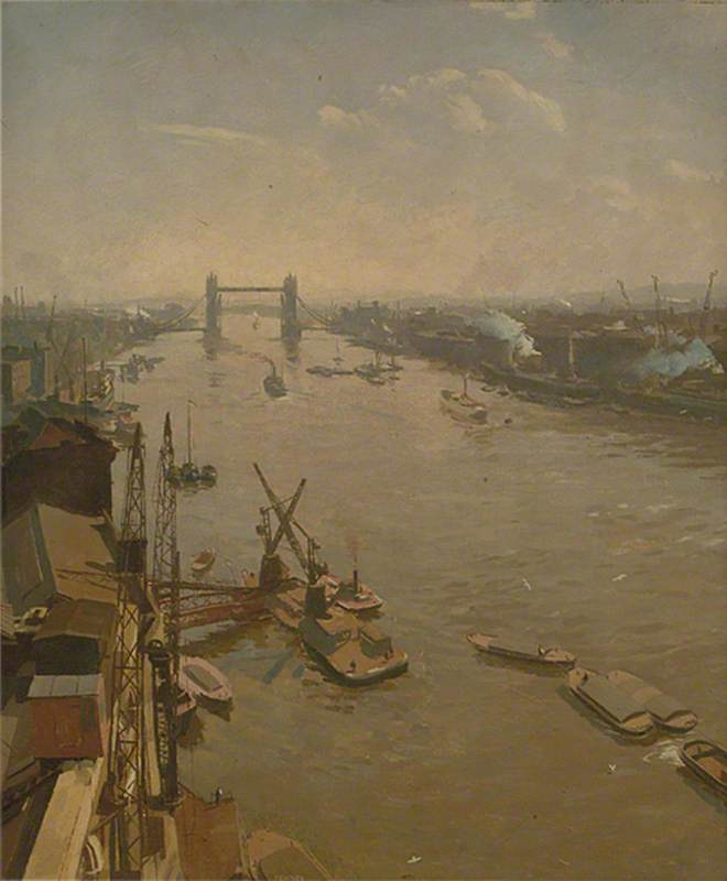 The Pool of London, 1935 by Donald Chisholm Towner | Famous Paintings Reproductions | WahooArt.com