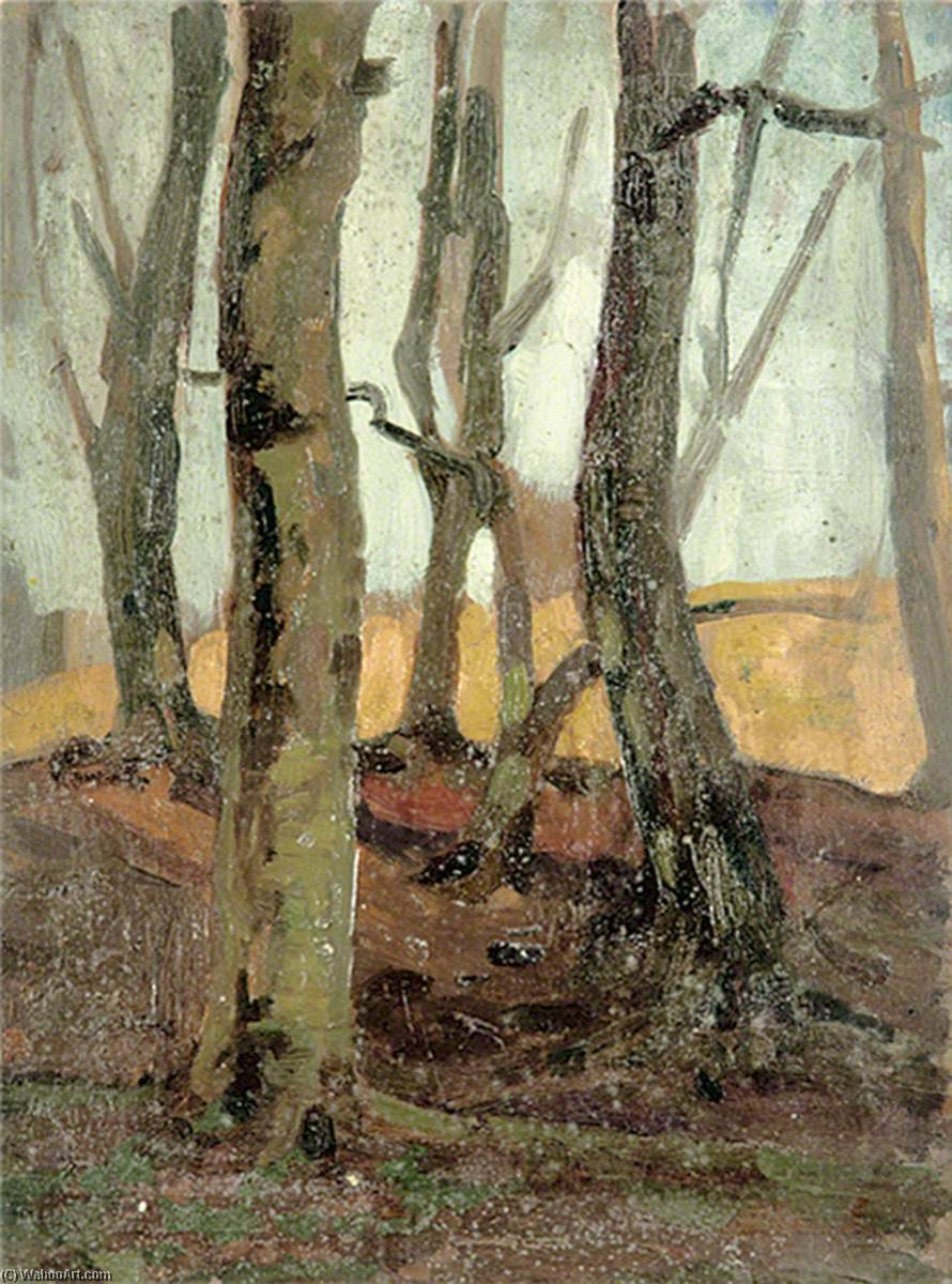 Wooded Scene of Trees, Oil by Gunning King