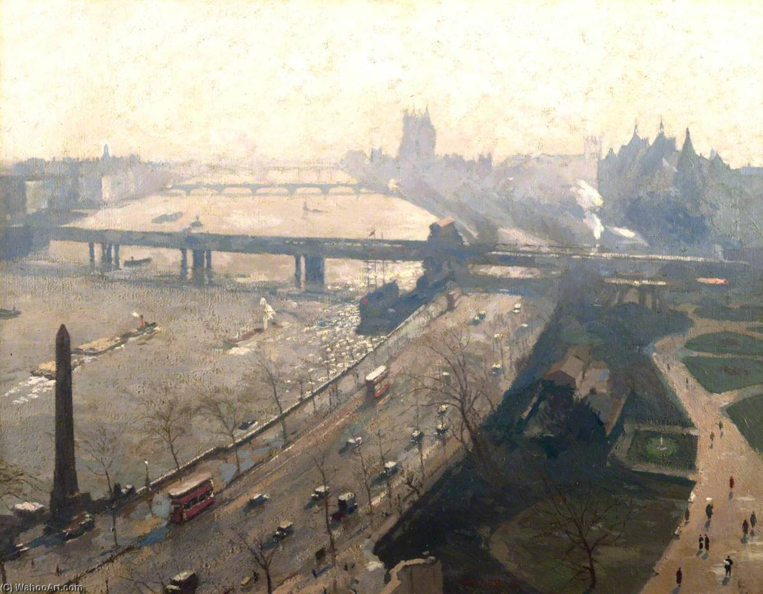 The Embankment, Westminster, 1934 by Donald Chisholm Towner | Painting Copy | WahooArt.com