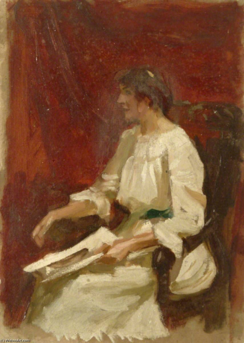 Seated Woman, Oil by Gunning King