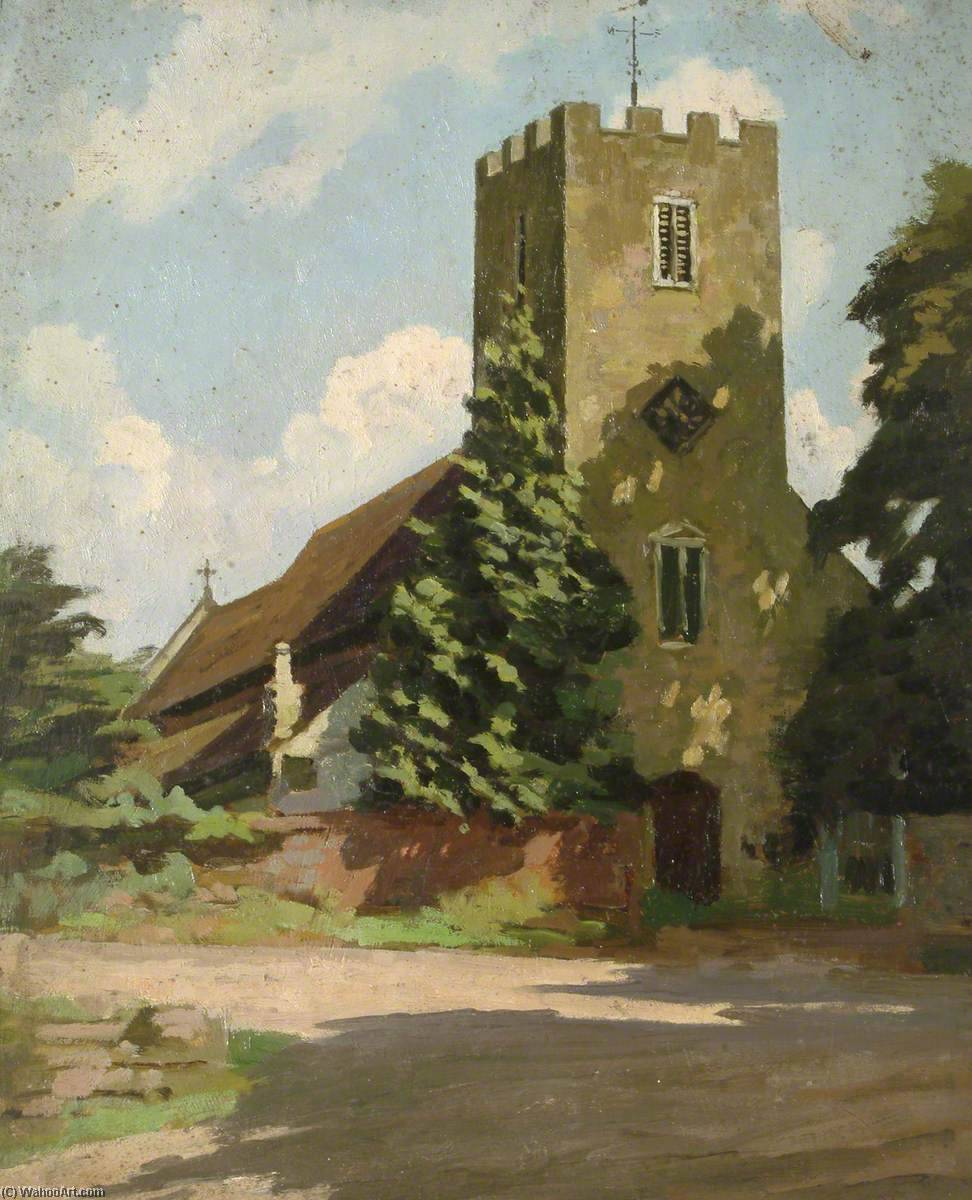 A Church, Oil On Panel by Gunning King