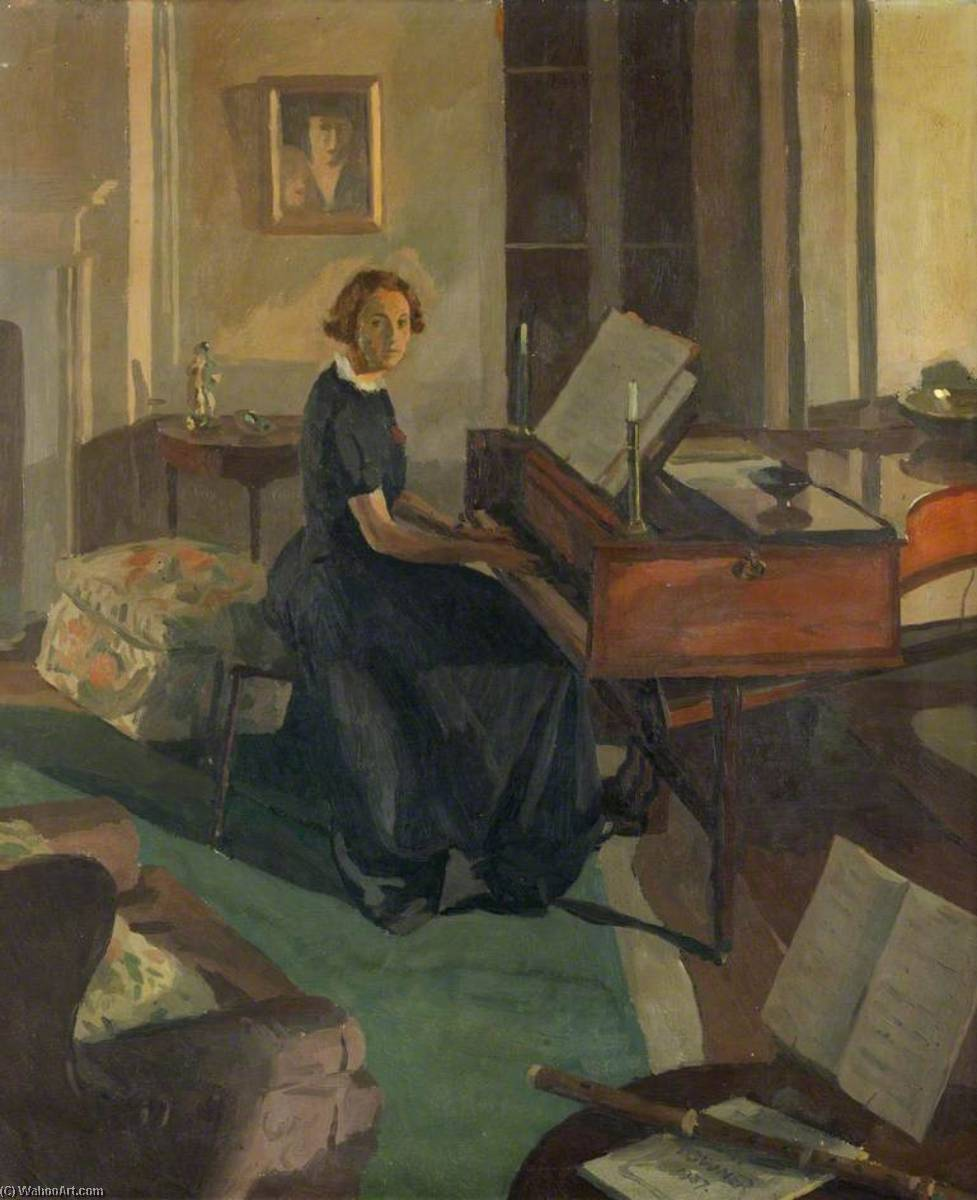 Alice Ashley at a Piano, Oil On Canvas by Donald Chisholm Towner