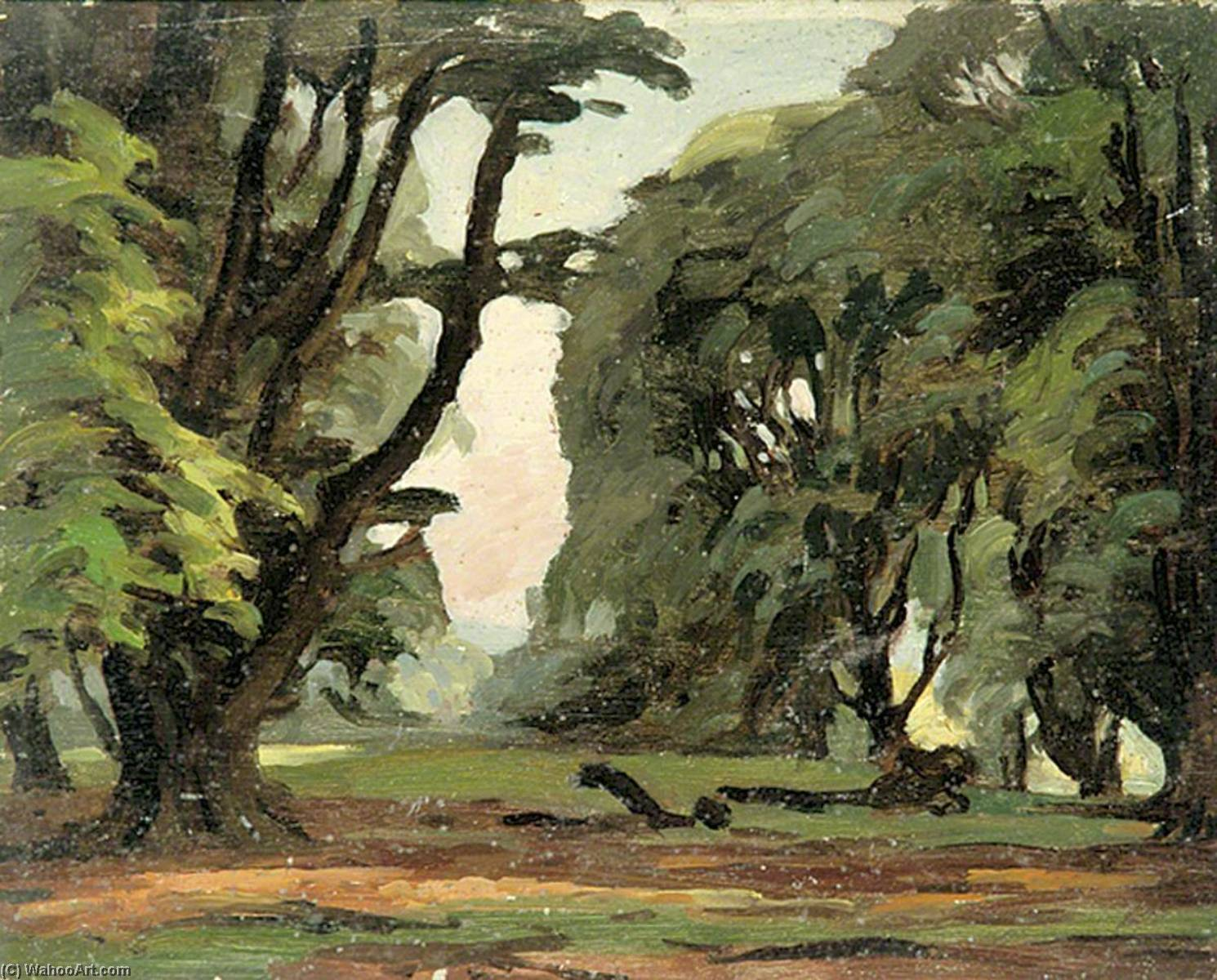 Scene with Trees, Oil by Gunning King