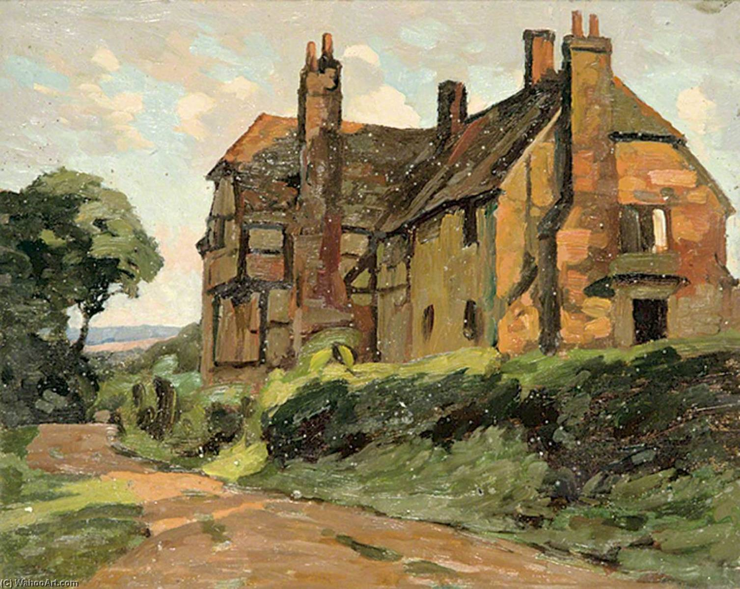 House in the Country, Oil by Gunning King