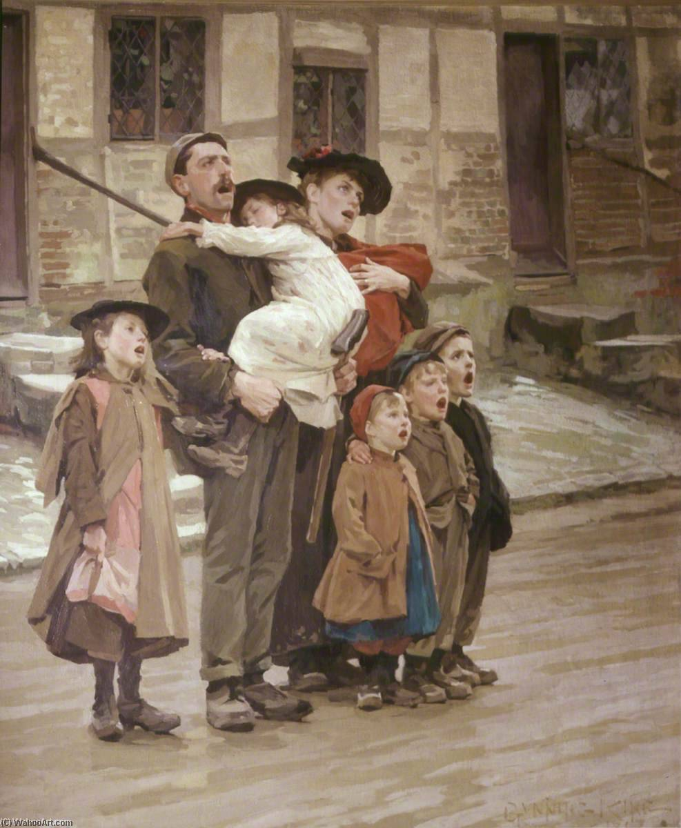 Carol Singers, Oil On Canvas by Gunning King