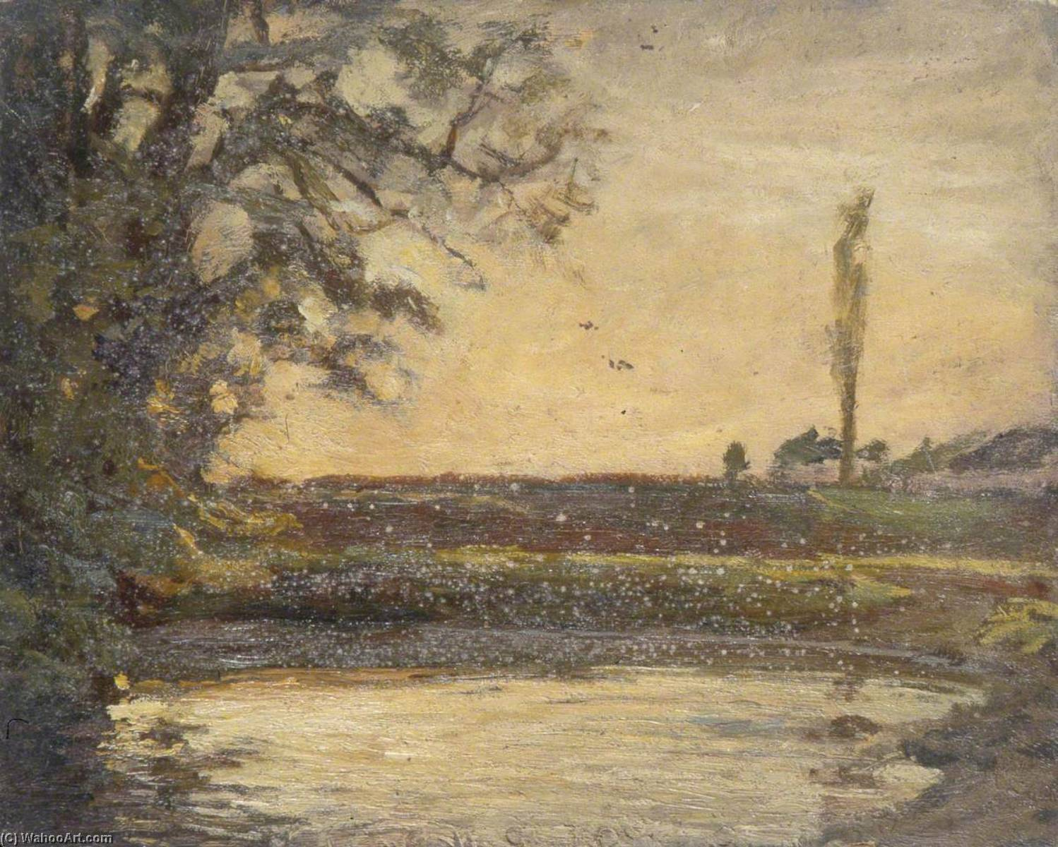 River Scene, Oil by Gunning King