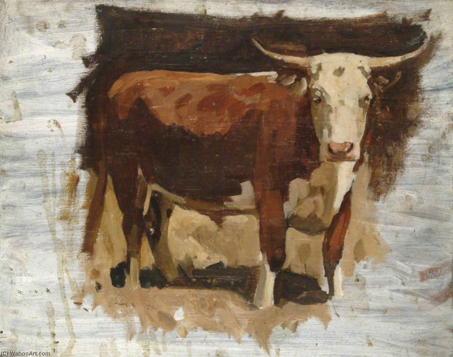 A Bull, Oil On Panel by Gunning King
