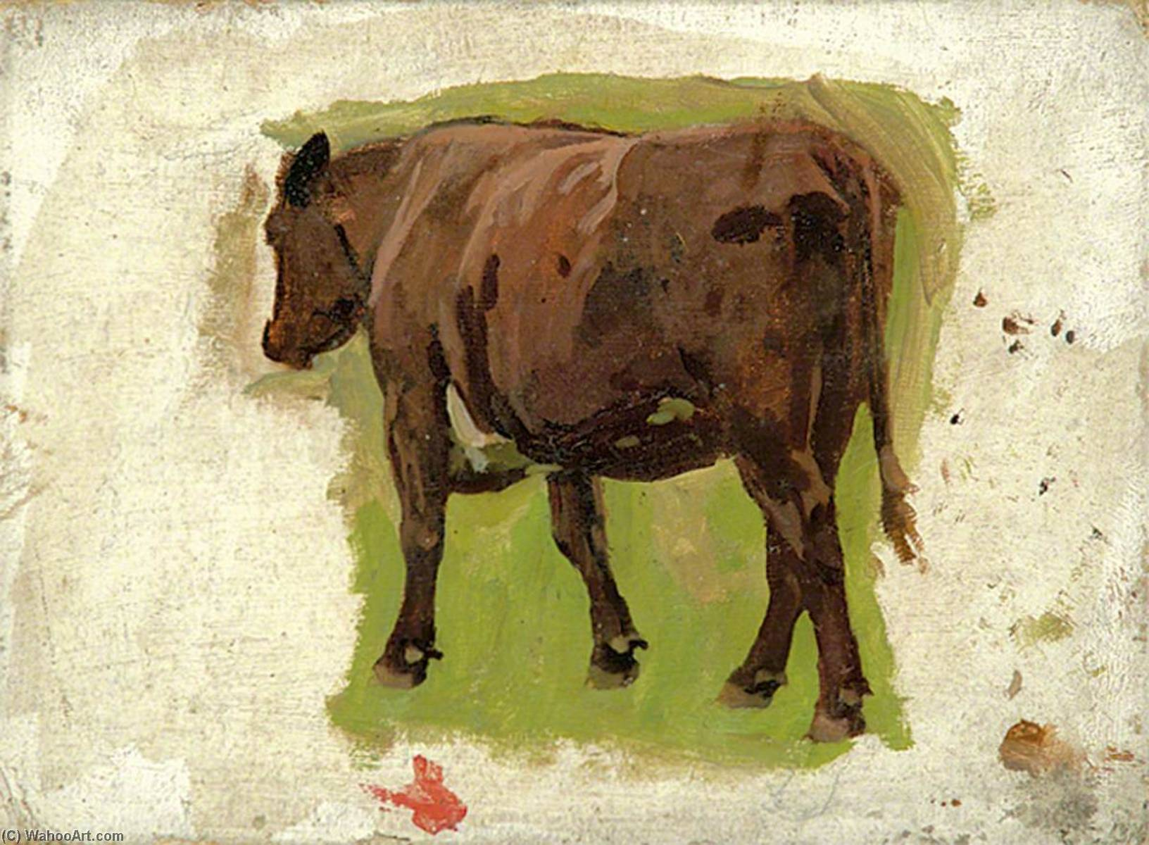A Brown Cow, Oil by Gunning King