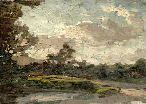 Gunning King - Landscape with a Pond in the Foreground, Large Tree on the Left