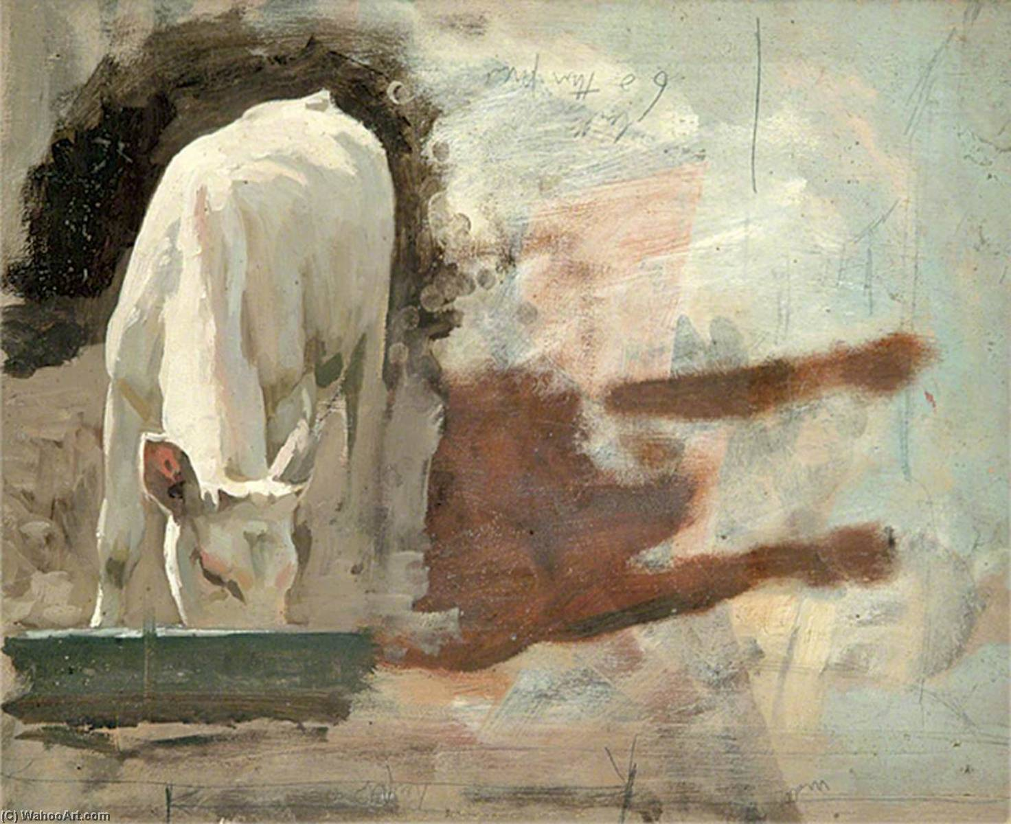 Calf Drinking from a Trough, Oil by Gunning King
