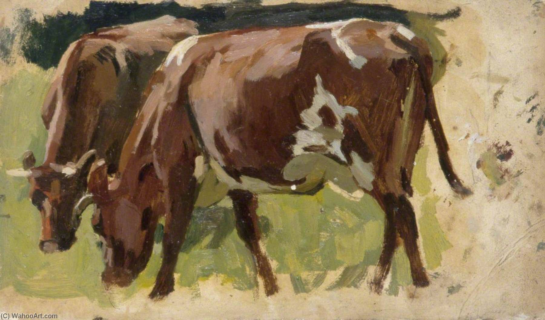Two Cows Grazing by Gunning King | Paintings Reproductions Gunning King | WahooArt.com