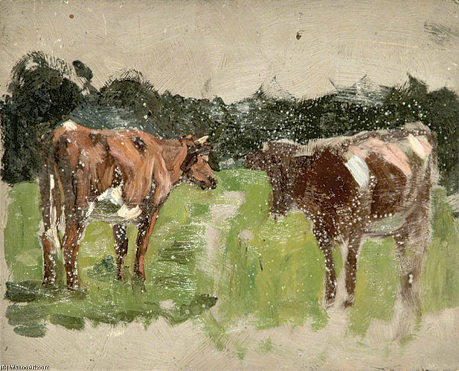 Cows in a Field by Gunning King | Famous Paintings Reproductions | WahooArt.com