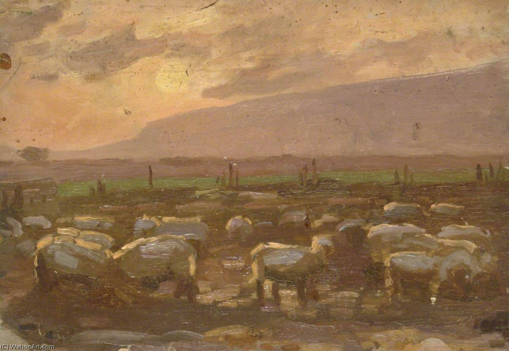 Flock of Sheep in Sunset, Oil On Panel by Gunning King
