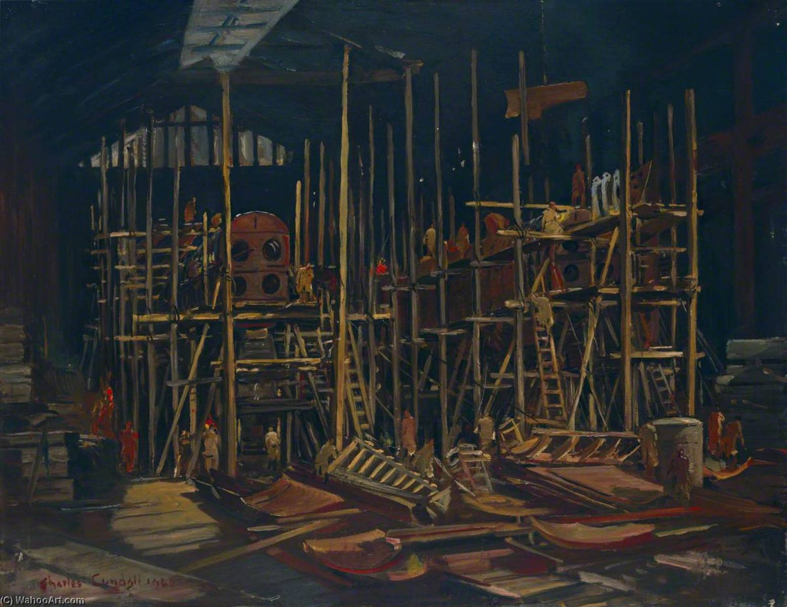 Building Submarines, Oil On Panel by Charles Ernest Cundall