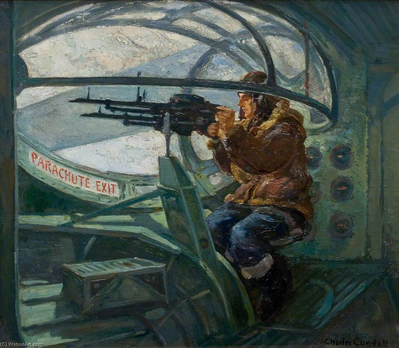 Catalina Air Gunner, Oil On Canvas by Charles Ernest Cundall