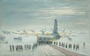 Charles Ernest Cundall - A Sunderland Being Hauled up the Slipway