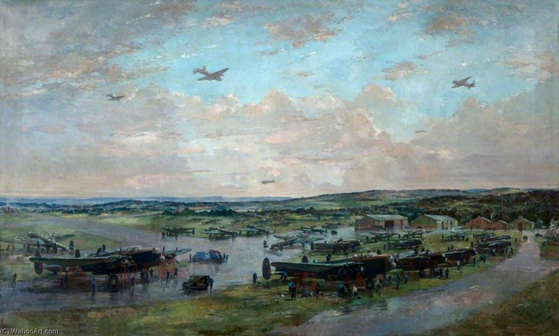 Lancasters, 1943 by Charles Ernest Cundall | Oil Painting | WahooArt.com