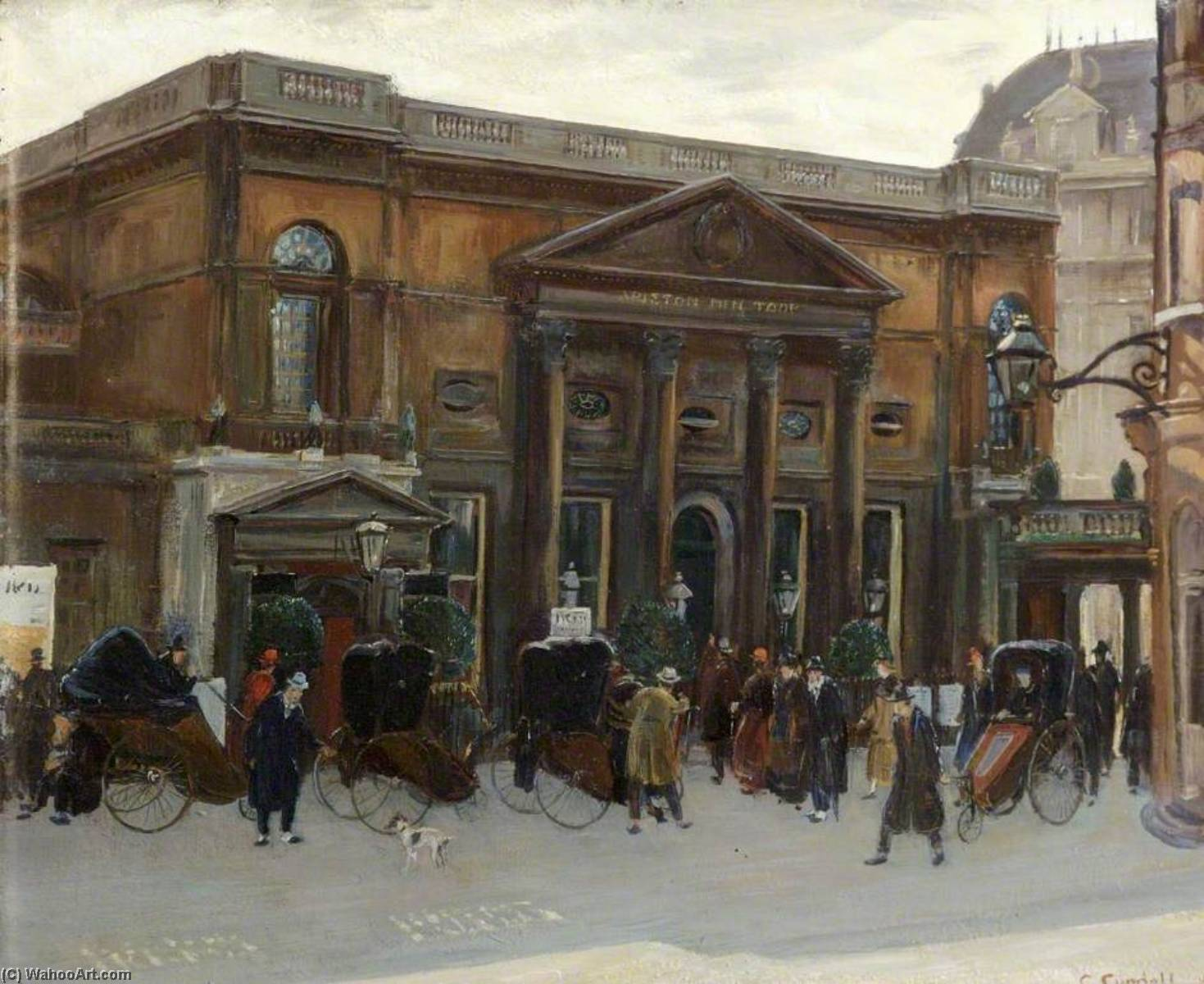 Pump Room, Bath, Oil by Charles Ernest Cundall