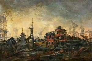 The Hipper at Kiel, Oil On Canvas by Charles Ernest Cundall (order Fine Art hand made painting Charles Ernest Cundall)