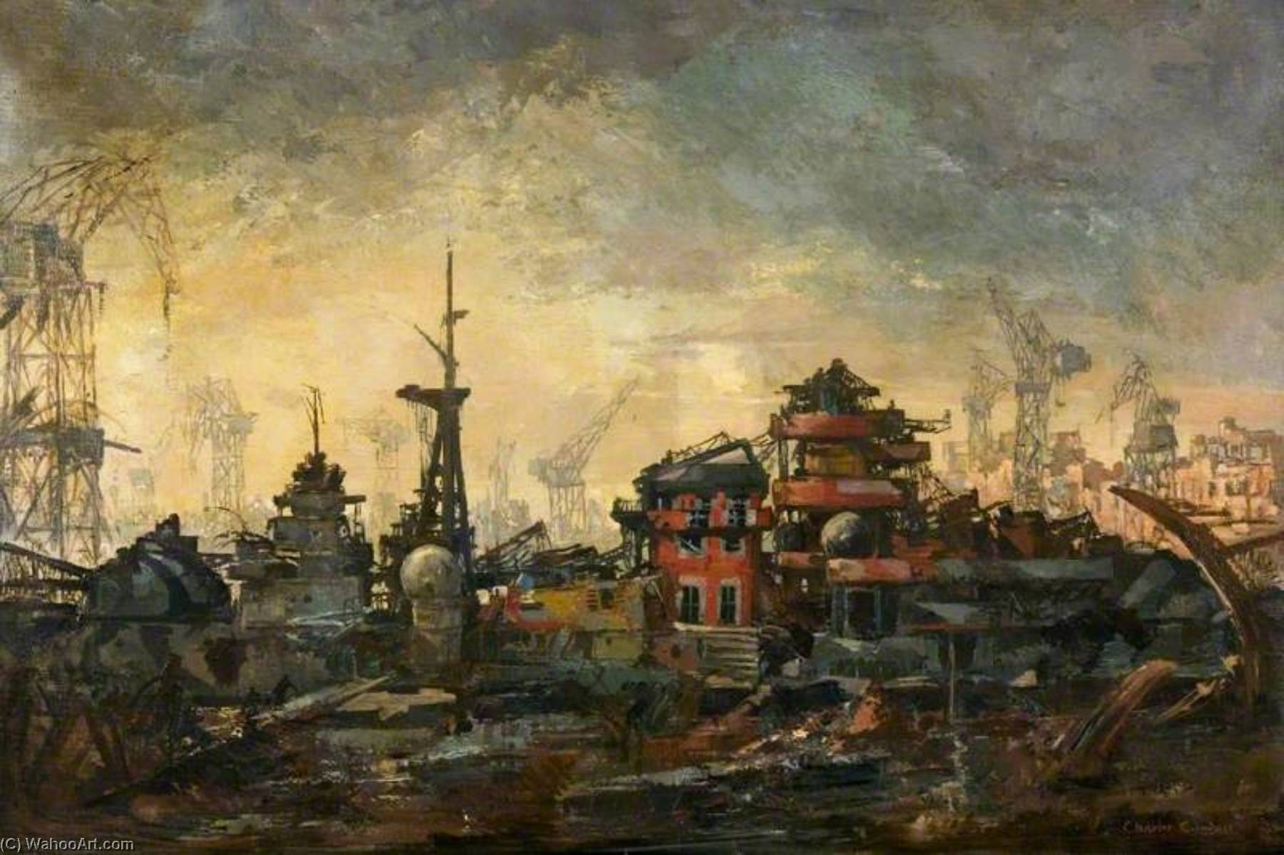 The Hipper at Kiel, 1945 by Charles Ernest Cundall | Oil Painting | WahooArt.com