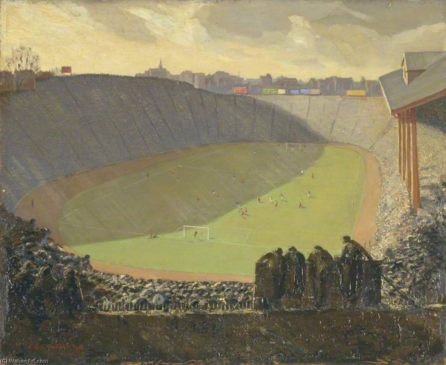 A Chelsea Cup Tie, Oil by Charles Ernest Cundall