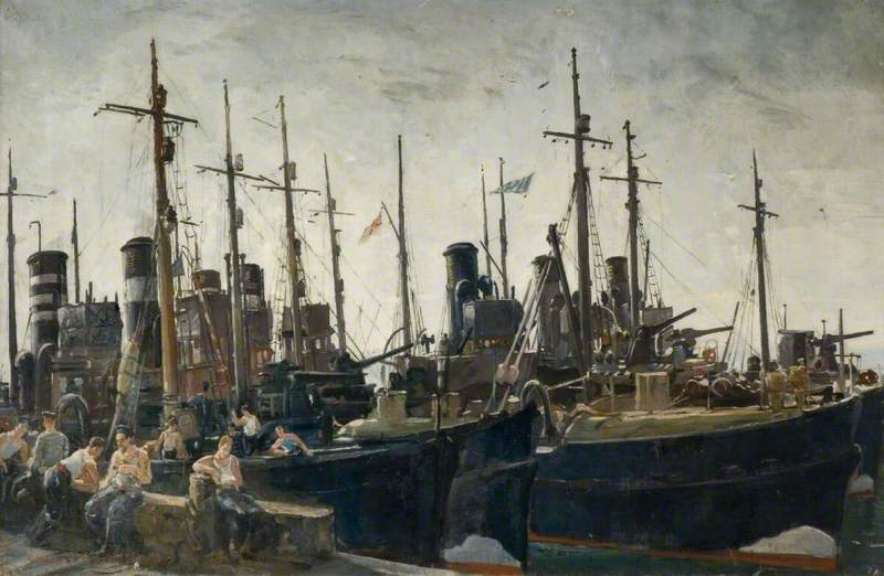 Minesweepers off Duty, Oil On Canvas by Charles Ernest Cundall