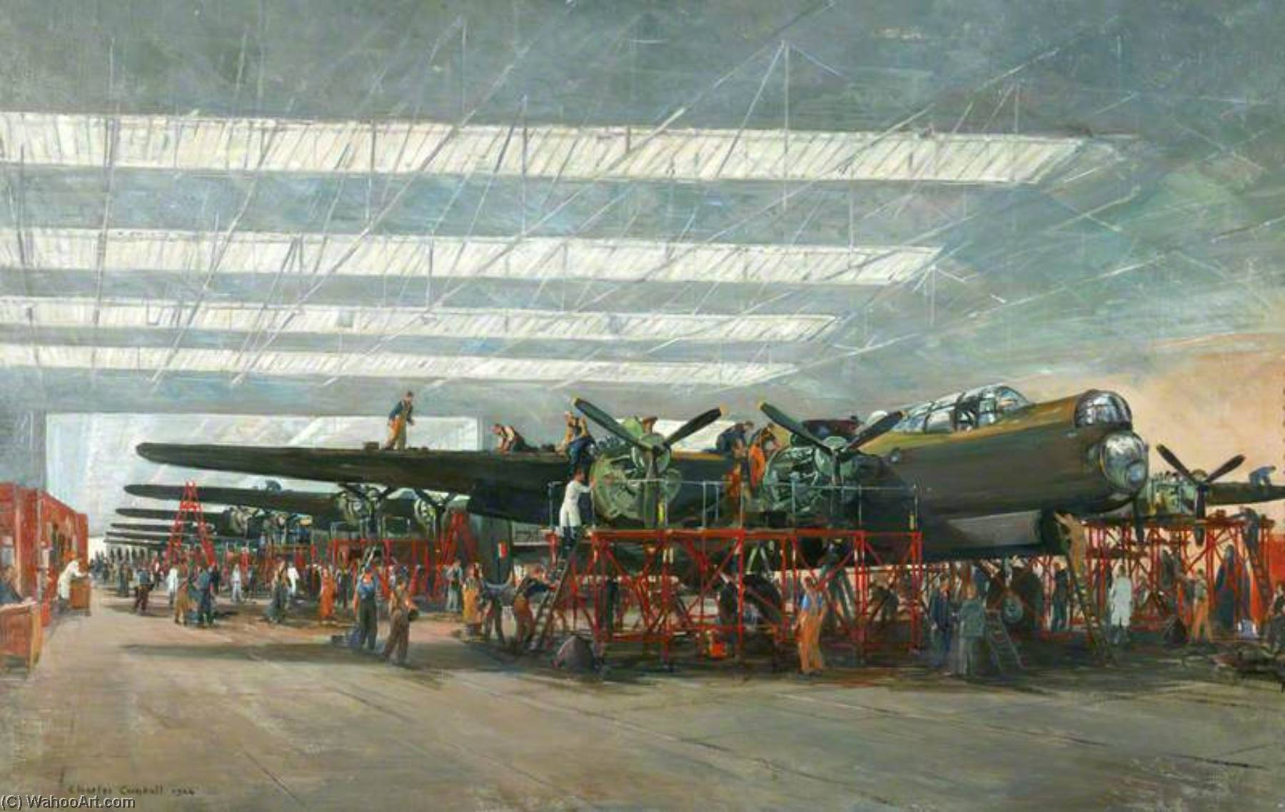 Avro Lancaster Bombers at Woodford, Oil On Canvas by Charles Ernest Cundall