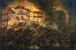Charles Ernest Cundall - The Destruction of a Birmingham Small Arms Factory Building