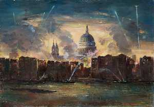 Charles Ernest Cundall - St Paul's Cathedral during the Blitz
