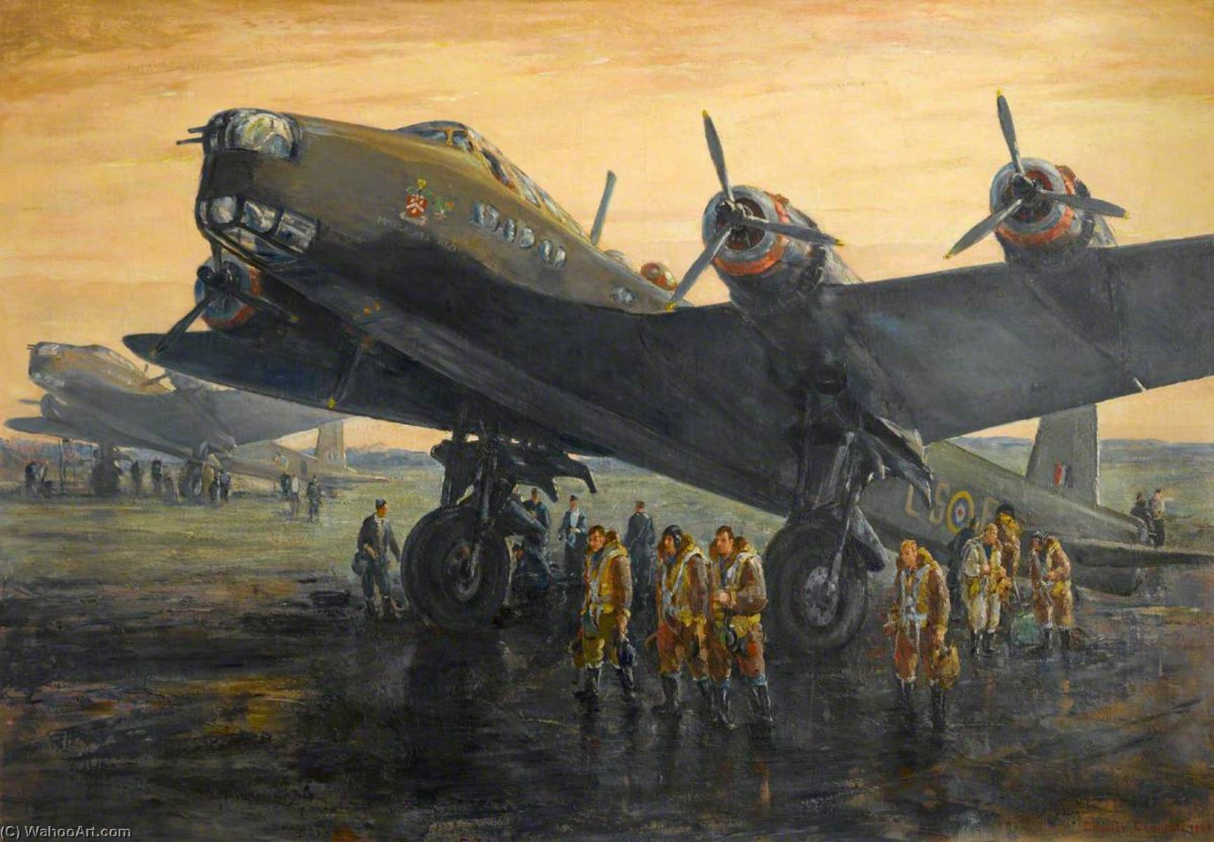 Order Art Reproduction : Stirling Bombers Return of the MacRobert`s Reply, 1942 by Charles Ernest Cundall | WahooArt.com