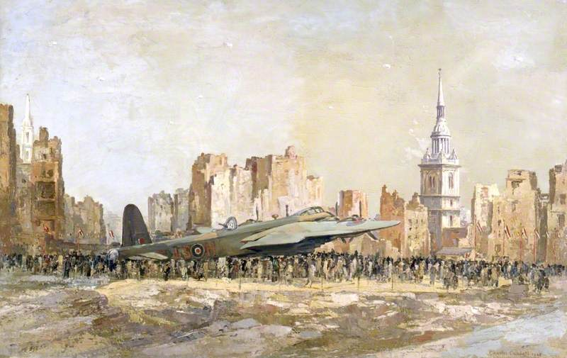 Stirling Bomber, Bow Church, London, Oil On Canvas by Charles Ernest Cundall