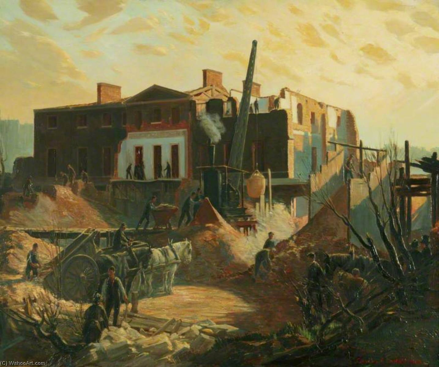 The Demolition of Devonshire House, Oil On Panel by Charles Ernest Cundall