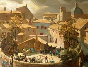 Charles Ernest Cundall - The Arena, Assisi