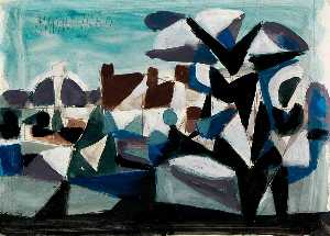 Roy Turner Durrant - Geometric Landscape in Black, Brown, Blue and Purple
