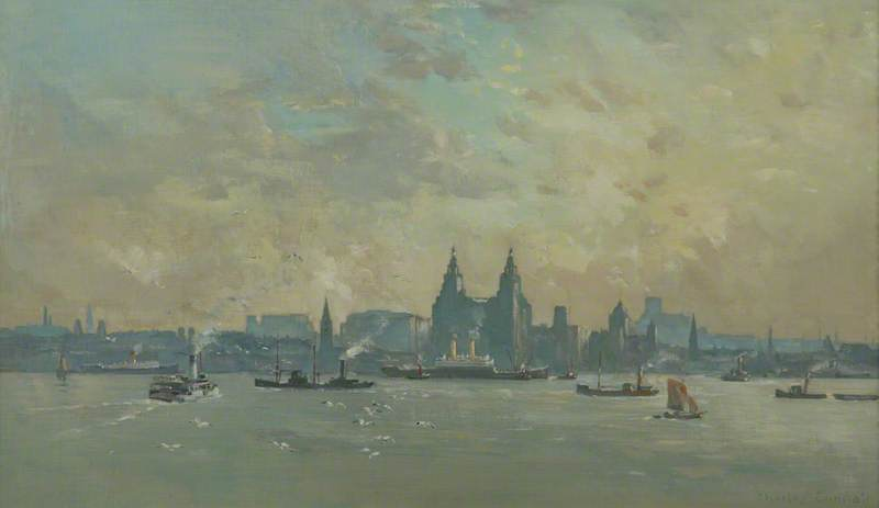 Liverpool from the Mersey, Oil On Canvas by Charles Ernest Cundall
