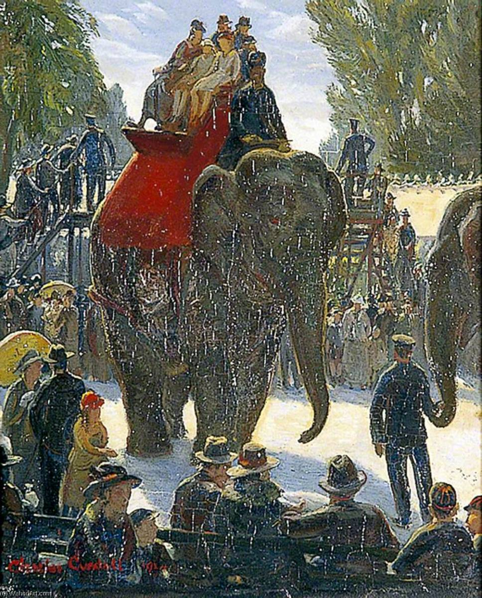 The Elephant Ride, 1924 by Charles Ernest Cundall | Painting Copy | WahooArt.com