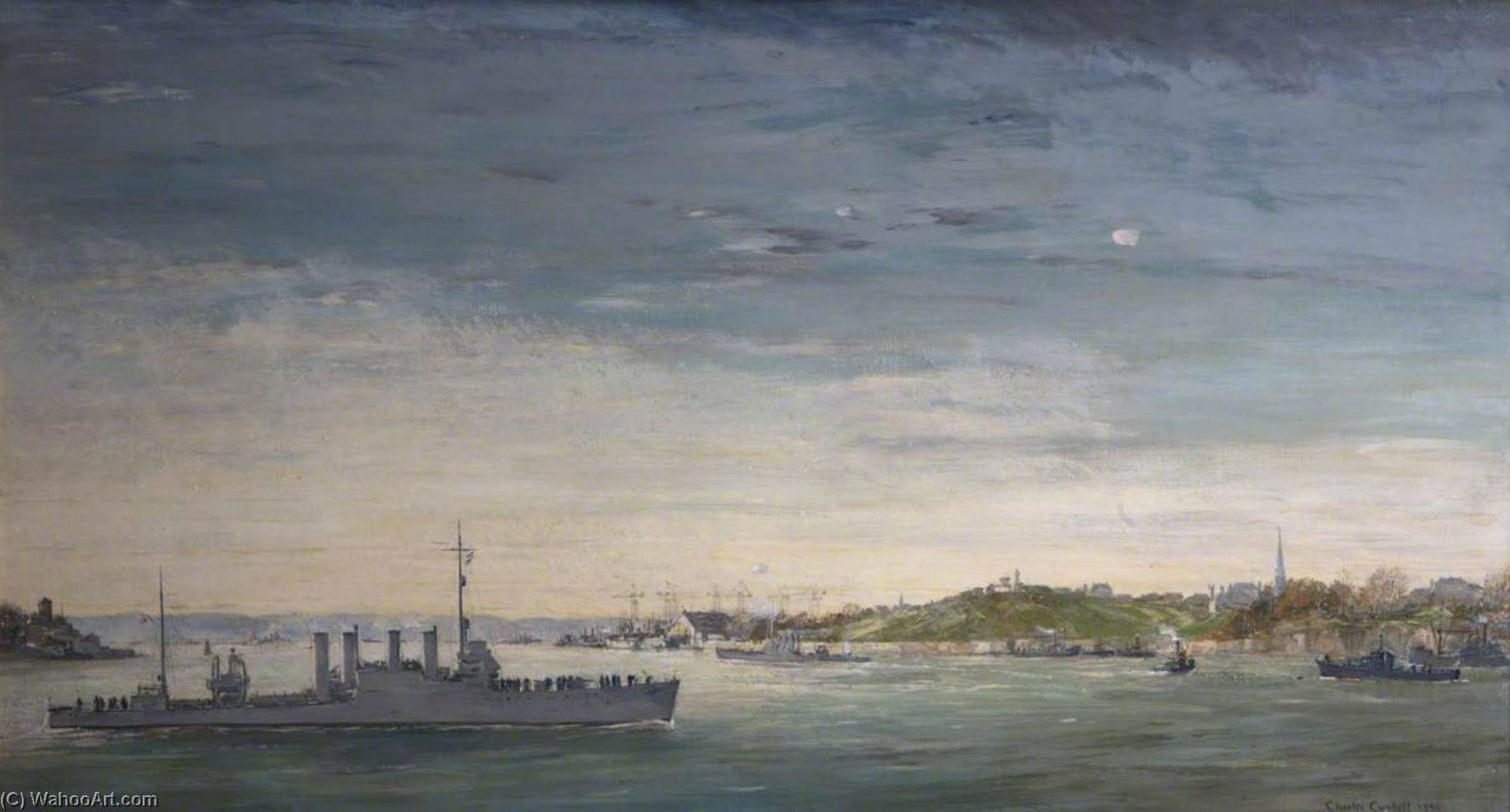 American Destroyers Arrive at Plymouth, Oil On Canvas by Charles Ernest Cundall