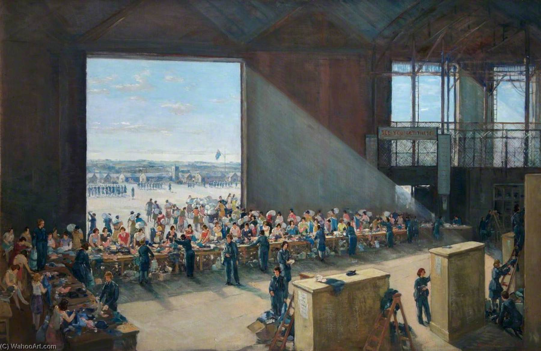 Women's Auxiliary Air Force Kitting Up, Oil On Canvas by Charles Ernest Cundall