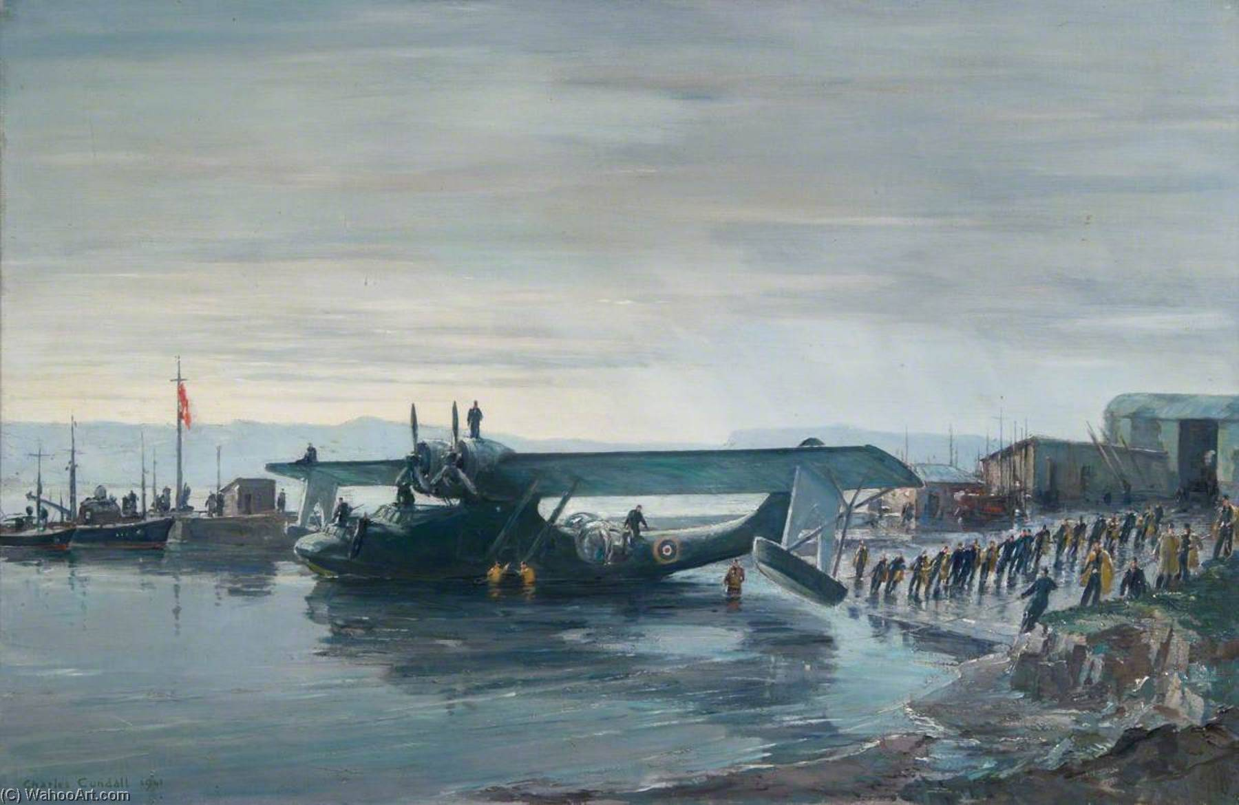 Hauling a Catalina up the Slipway, Oil On Canvas by Charles Ernest Cundall