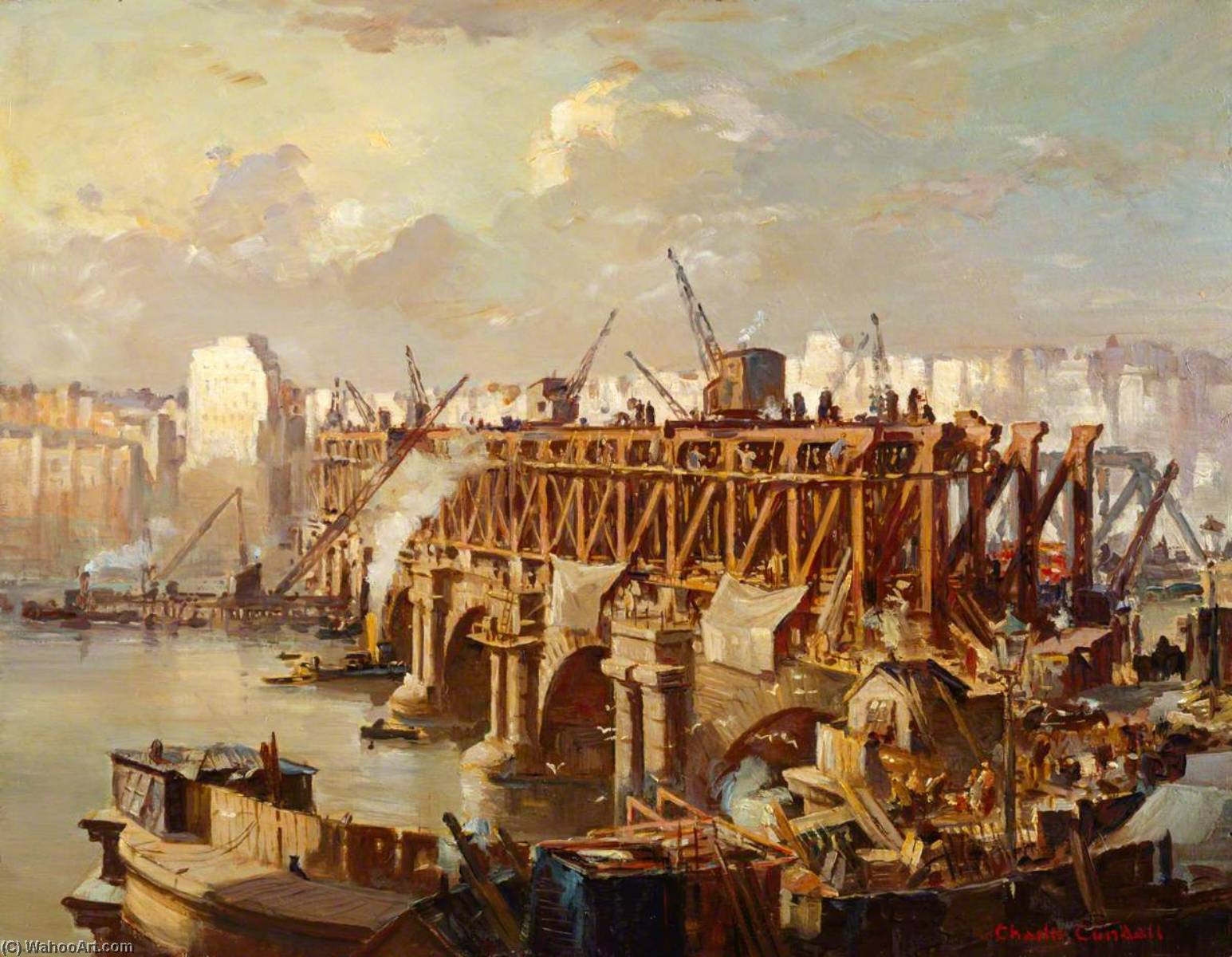 Demolition of Waterloo Bridge, 1935, Oil by Charles Ernest Cundall