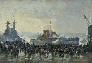 Charles Ernest Cundall - The Return of HMS 'Exeter'